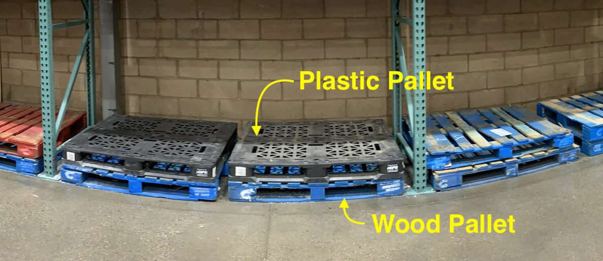 empty plastic and wood pallets