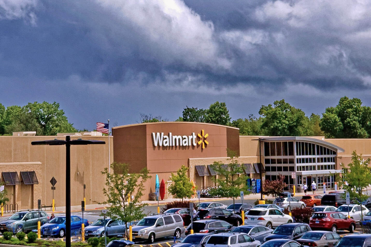 image of walmart retail store and parking lot